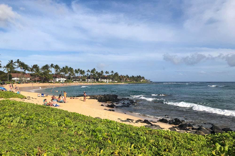 Poipu Beach at Sheraton Hotel on Kauai