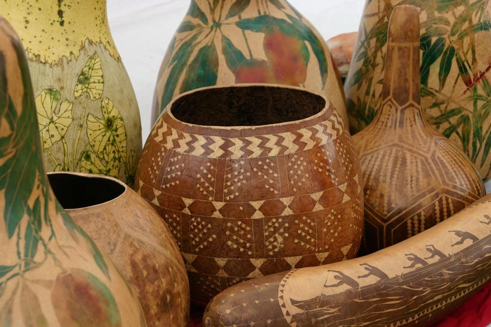 Artistically carved gourds at Hawaiian Cultural Festival