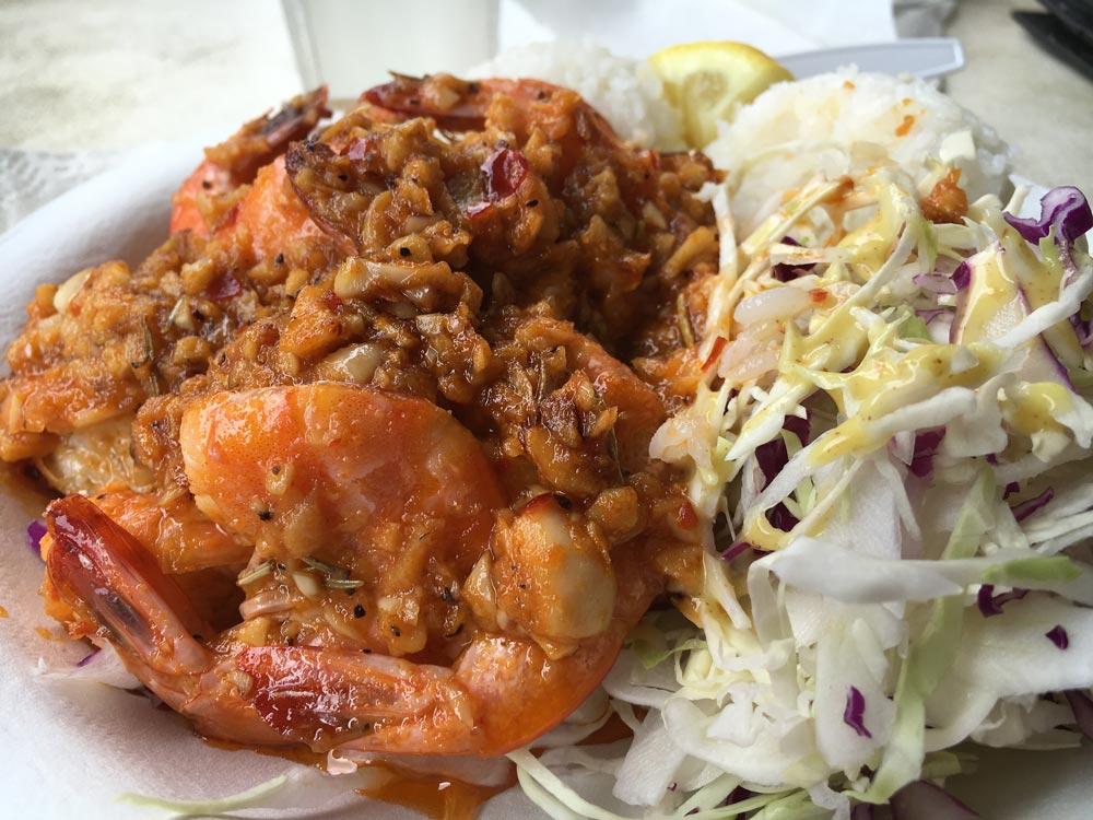 Savage Shrimp's garlic shrimp plate photo by Robin Gotfrid